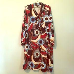Eloquii retro style midi dress with pussy bow
